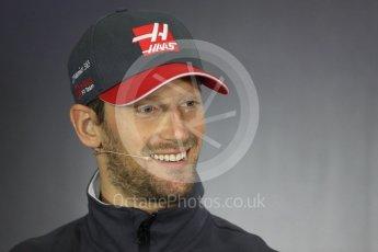 World © Octane Photographic Ltd. Formula 1 - British Grand Prix - Thursday - FIA Driver Press Conference. Romain Grosjean - Haas F1 Team. Silverstone, UK. Thursday 13th July 2017. Digital Ref: 1877LB1D7108