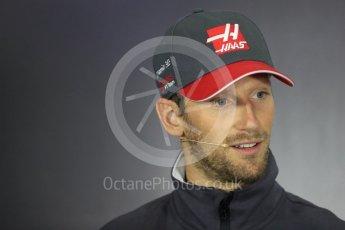 World © Octane Photographic Ltd. Formula 1 - British Grand Prix - Thursday - FIA Driver Press Conference. Romain Grosjean - Haas F1 Team. Silverstone, UK. Thursday 13th July 2017. Digital Ref: 1877LB1D7173