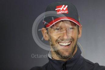 World © Octane Photographic Ltd. Formula 1 - British Grand Prix - Thursday - FIA Driver Press Conference. Romain Grosjean - Haas F1 Team. Silverstone, UK. Thursday 13th July 2017. Digital Ref: 1877LB1D7201