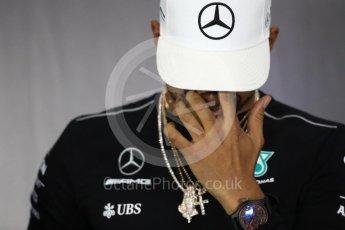 World © Octane Photographic Ltd. Formula 1 - British Grand Prix - Thursday - FIA Driver Press Conference. Lewis Hamilton - Mercedes AMG Petronas F1 Team. Silverstone, UK. Thursday 13th July 2017. Digital Ref: 1877LB1D7627