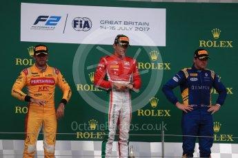 World © Octane Photographic Ltd. FIA Formula 2 (F2) - Race 1. Charles Leclerc (1st) - Prema Racing, Norman Nato (2nd) – Pertamina Arden and Oliver Rowland (3rd) – DAMS. British Grand Prix, Silverstone, UK. Saturday 15th July 2017. Digital Ref: 1887LB1D2344