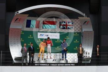 World © Octane Photographic Ltd. FIA Formula 2 (F2) - Race 1. Charles Leclerc (1st) - Prema Racing, Norman Nato (2nd) – Pertamina Arden and Oliver Rowland (3rd) – DAMS. British Grand Prix, Silverstone, UK. Saturday 15th July 2017. Digital Ref: 1887LB1D2355