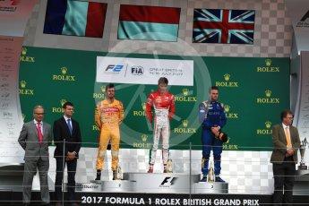 World © Octane Photographic Ltd. FIA Formula 2 (F2) - Race 1. Charles Leclerc (1st) - Prema Racing, Norman Nato (2nd) – Pertamina Arden and Oliver Rowland (3rd) – DAMS. British Grand Prix, Silverstone, UK. Saturday 15th July 2017. Digital Ref: 1887LB1D2377