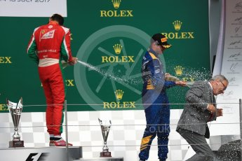 World © Octane Photographic Ltd. FIA Formula 2 (F2) - Race 1. Charles Leclerc (1st) - Prema Racing and Oliver Rowland (3rd) – DAMS. British Grand Prix, Silverstone, UK. Saturday 15th July 2017. Digital Ref: 1887LB1D2419