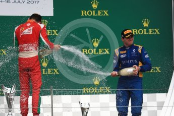 World © Octane Photographic Ltd. FIA Formula 2 (F2) - Race 1. Charles Leclerc (1st) - Prema Racing and Oliver Rowland (3rd) – DAMS. British Grand Prix, Silverstone, UK. Saturday 15th July 2017. Digital Ref: 1887LB1D2435