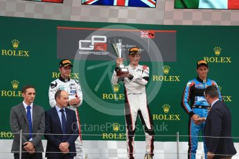 World © Octane Photographic Ltd. GP3 - Race 1. George Russell (1st) and Anthoine Hubert (2nd) - ART Grand Prix and Allessio Lorando (3rd) – Jenzer Motorsport. British Grand Prix - Silverstone, UK. Saturday 15th July 2017. Digital Ref: 1879LB1D2684