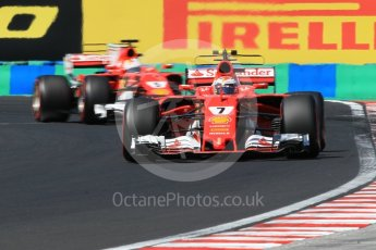 World © Octane Photographic Ltd. Formula 1 - Hungarian Grand Prix Practice 3. Kimi Raikkonen and Sebastian Vettel - Scuderia Ferrari SF70H. Hungaroring, Budapest, Hungary. Saturday 29th July 2017. Digital Ref: