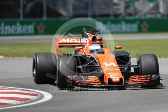 World © Octane Photographic Ltd. Formula 1 - Canadian Grand Prix - Saturday - Qualifying. Fernando Alonso - McLaren Honda MCL32. Circuit Gilles Villeneuve, Montreal, Canada. Saturday 10th June 2017. Digital Ref: 1854LB1D6559