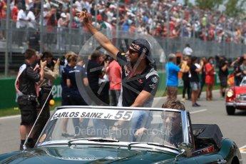 World © Octane Photographic Ltd. Formula 1 - Canadian Grand Prix - Sunday Drivers Parade & Grid. Carlos Sainz - Scuderia Toro Rosso STR12. Circuit Gilles Villeneuve, Montreal, Canada. Sunday 11th June 2017. Digital Ref: 1856LB1D7413