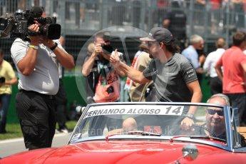 World © Octane Photographic Ltd. Formula 1 - Canadian Grand Prix - Sunday Drivers Parade & Grid. Fernando Alonso - McLaren Honda MCL32. Circuit Gilles Villeneuve, Montreal, Canada. Sunday 11th June 2017. Digital Ref: 1856LB1D7431