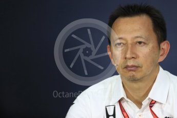 World © Octane Photographic Ltd. Formula 1 - Canadian Grand Prix - Friday FIA Team Personnel Press Conference. Yusuke Hasegawa – Chief of Honda F1 project. Circuit Gilles Villeneuve, Montreal, Canada. Friday 9th June 2017. Digital Ref: 1852LB1D4459