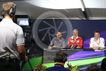 World © Octane Photographic Ltd. Formula 1 - Canadian Grand Prix - Friday FIA Team Personnel Press Conference. Guenther Steiner - Team Principal of Haas F1 Team, Maurizio Arrivabene – Managing Director and Team Principal of Scuderia Ferrari and James Allison - Technical Director of Mercedes-AMG Petronas Motorsport. Circuit Gilles Villeneuve, Montreal, Canada. Friday 9th June 2017. Digital Ref: 1852LB2D2683
