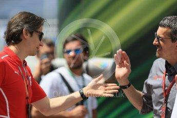 World © Octane Photographic Ltd. Formula 1 - Monaco Grand Prix. Guenther Steiner - Team Principal of Haas F1 Team and Massimo Rivola head of Ferrari Academy. Monaco, Monte Carlo. Wednesday 24th May 2017. Digital Ref: