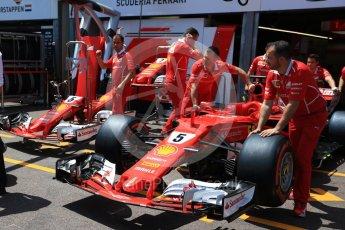 World © Octane Photographic Ltd. Formula 1 - Monaco Grand Prix Setup. Sebastian Vettel - Scuderia Ferrari SF70H. Monaco, Monte Carlo. Wednesday 24th May 2017. Digital Ref: