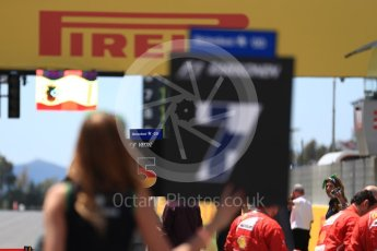 World © Octane Photographic Ltd. Formula 1 - Spanish Grand Prix Grid. Sebastian Vettel - Scuderia Ferrari SF70H. Circuit de Barcelona - Catalunya, Spain. Sunday 14th May 2017. Digital Ref:1824LB1D3679