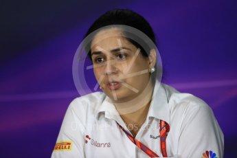 World © Octane Photographic Ltd. Formula 1 - Spanish Grand Prix – FIA Team Press Conference – Part 2. Monisha Kaltenborn – Team Principal of Sauber Motorsport. Circuit de Barcelona - Catalunya. Thursday 11th May 2017. Digital Ref: 1815LB1D0158