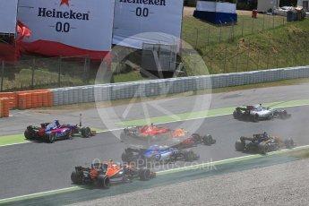 World © Octane Photographic Ltd. Formula 1 - Spanish Grand Prix Race. First lap drama as the pack splits around the slow moving Raikkonen and Verstappen. Circuit de Barcelona - Catalunya, Spain. Sunday 14th May 2017. Digital Ref:1825LB1D3886