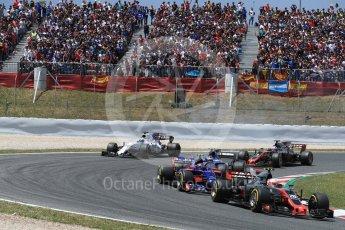 World © Octane Photographic Ltd. Formula 1 - Spanish Grand Prix Race. Kevin Magnussen - Haas F1 Team VF-17 and Carlos Sainz - Scuderia Toro Rosso STR12. Circuit de Barcelona - Catalunya, Spain. Sunday 14th May 2017. Digital Ref:1825LB1D3944