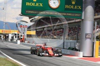 World © Octane Photographic Ltd. Formula 1 - Spanish Grand Prix Race. Sebastian Vettel - Scuderia Ferrari SF70H. Circuit de Barcelona - Catalunya, Spain. Sunday 14th May 2017. Digital Ref:1825LB1D4384