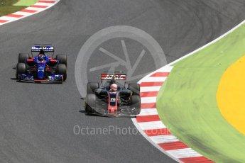 World © Octane Photographic Ltd. Formula 1 - Spanish Grand Prix Race. Kevin Magnussen - Haas F1 Team VF-17 and Carlos Sainz - Scuderia Toro Rosso STR12. Circuit de Barcelona - Catalunya, Spain. Sunday 14th May 2017. Digital Ref:1825LB2D9009