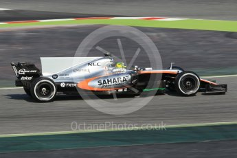 World © Octane Photographic Ltd. Sahara Force India VJM10 – Sergio Perez. Formula 1 winter test 1, Circuit de Barcelona-Catalunya. Monday 27th February 2017. Digital Ref :1780CB1D2684