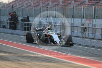 World © Octane Photographic Ltd. Formula 1 - Winter Test 1. Sergio Perez - Sahara Force India VJM10. Circuit de Barcelona-Catalunya. Monday 27th February 2017. Digital Ref : 1780LB1D8295