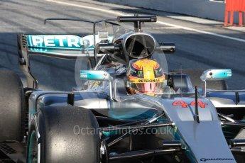 World © Octane Photographic Ltd. Formula 1 - Winter Test 1. Lewis Hamilton - Mercedes AMG Petronas F1 W08 EQ Energy+. Circuit de Barcelona-Catalunya. Monday 27th February 2017. Digital Ref : 1780LB1D8574