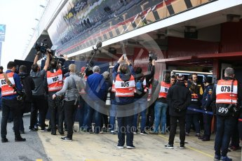 World © Octane Photographic Ltd. Formula 1 - Winter Test 1. Media wait for Daniel Ricciardo - Red Bull Racing RB13. Circuit de Barcelona-Catalunya. Monday 27th February 2017. Digital Ref : 1780LB5D7677