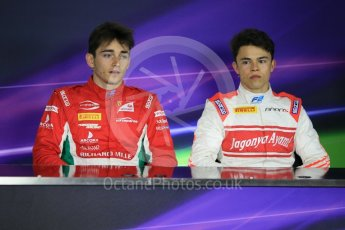 World © Octane Photographic Ltd. FIA Formula 2 (F2) - Qualifying conference. Charles Leclerc – Prema Racing and Nyck de Vries – Rapax. Circuit de Barcelona - Catalunya, Spain. Friday 12th May 2017. Digital Ref: 1813CB1L8730