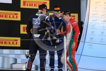 World © Octane Photographic Ltd. FIA Formula 2 (F2) - Race 1. Charles Leclerc – Prema Racing (1st), Luca Ghiotto – Russian Time (2nd) and Oliver Rowland – DAMS (3rd). Circuit de Barcelona - Catalunya, Spain. Friday 12th May 2017. Digital Ref:1819LB1D2494
