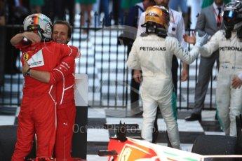 World © Octane Photographic Ltd. Formula 1 - Australian Grand Prix - Podium. Sebastian Vettel - Scuderia Ferrari SF70H. Albert Park Circuit. Sunday 26th March 2017. Digital Ref: 1803LB1D7106