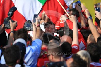 World © Octane Photographic Ltd. Formula 1 - Australian Grand Prix - Podium. Sebastian Vettel - Scuderia Ferrari SF70H. Albert Park Circuit. Sunday 26th March 2017. Digital Ref: 1803LB1D7177