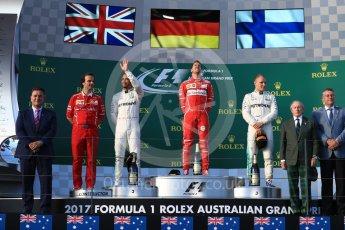 World © Octane Photographic Ltd. Formula 1 - Australian Grand Prix - Podium. Sebastian Vettel - Scuderia Ferrari SF70H, Lewis Hamilton and Valtteri Bottas - Mercedes AMG Petronas F1 W08 EQ Energy+. Albert Park Circuit. Sunday 26th March 2017. Digital Ref: 1803LB1D7421