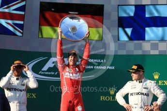 World © Octane Photographic Ltd. Formula 1 - Australian Grand Prix - Podium. Sebastian Vettel - Scuderia Ferrari SF70H, Lewis Hamilton and Valtteri Bottas - Mercedes AMG Petronas F1 W08 EQ Energy+. Albert Park Circuit. Sunday 26th March 2017. Digital Ref: 1803LB1D7538