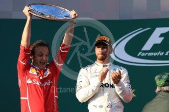 World © Octane Photographic Ltd. Formula 1 - Australian Grand Prix - Podium. Lewis Hamilton - Mercedes AMG Petronas F1 W08 EQ Energy+. Albert Park Circuit. Sunday 26th March 2017. Digital Ref: 1803LB1D7559
