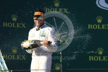 World © Octane Photographic Ltd. Formula 1 - Australian Grand Prix - Podium. Lewis Hamilton - Mercedes AMG Petronas F1 W08 EQ Energy+. Albert Park Circuit. Sunday 26th March 2017. Digital Ref: 1803LB1D7799