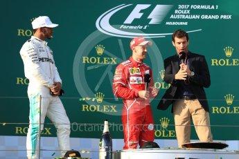 World © Octane Photographic Ltd. Formula 1 - Australian Grand Prix - Podium. Sebastian Vettel - Scuderia Ferrari SF70H, Lewis Hamilton Mercedes AMG Petronas F1 W08 EQ Energy+ and Mark Webber. Albert Park Circuit. Sunday 26th March 2017. Digital Ref: 1803LB1D7936