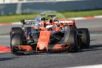 World © Octane Photographic Ltd. Formula 1 - Winter Test 2. Stoffel Vandoorne - McLaren Honda MCL32 and Esteban Ocon - Sahara Force India VJM10. Circuit de Barcelona-Catalunya. Tuesday 7th March 2017. Digital Ref :1784CB1D0468