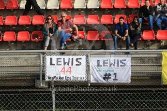 World © Octane Photographic Ltd. Formula 1 - Winter Test 2. Lewis Hamilton fans' flags. Circuit de Barcelona-Catalunya. Tuesday 7th March 2017. Digital Ref :1784CB1D1360
