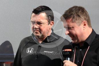 World © Octane Photographic Ltd. Formula 1 - Winter Test 2. Eric Boullier - Racing Director of McLaren Honda. Circuit de Barcelona-Catalunya. Tuesday 7th March 2017. Digital Ref: 1784CB1D5363