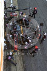 World © Octane Photographic Ltd. Formula 1 - Winter Test 2. Romain Grosjean - Haas F1 Team VF-17 and team doing a pit stop. Circuit de Barcelona-Catalunya. Friday 10th March 2017. Digital Ref: 1787LB5D0145