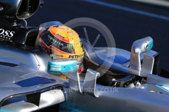World © Octane Photographic Ltd. Formula 1 - Winter Test 1. Lewis Hamilton - Mercedes AMG Petronas F1 W08 EQ Energy+. Circuit de Barcelona-Catalunya. Wednesday 1st March 2017. Digital Ref :1782CB1D8338