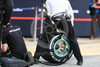 World © Octane Photographic Ltd. Formula 1 - Winter Test 1. Tyres of Mercedes AMG Petronas F1 W08 EQ Energy+. Circuit de Barcelona-Catalunya. Wednesday 1st March 2017. Digital Ref : 1782LB1D0129