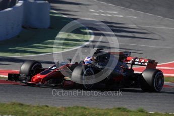 World © Octane Photographic Ltd. Formula 1 - Winter Test 1. Romain Grosjean - Haas F1 Team VF-17. Circuit de Barcelona-Catalunya. Wednesday 1st March 2017. Digital Ref :1782LB1D0934