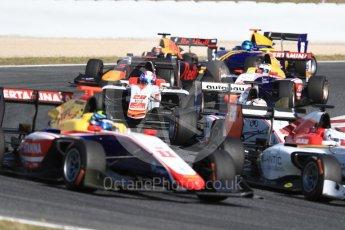 World © Octane Photographic Ltd. GP3 - Race 2. Tight midfield racing in turn 5. Circuit de Barcelona - Catalunya, Spain. Sunday 14th May 2017. Digital Ref:1821LB1D2859