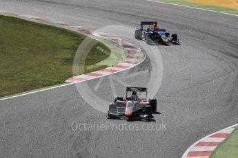 World © Octane Photographic Ltd. GP3 - Race 2. Nirei Fukuzumi - ART Grand Prix and Santini Ferrucci – DAMS. Circuit de Barcelona - Catalunya, Spain. Sunday 14th May 2017. Digital Ref:1821LB1D2915