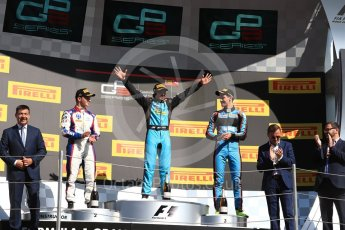 World © Octane Photographic Ltd. GP3 - Race 2. Arjun Maini (1st) – Jenzer Motorsport, Dorian Boccolacci (2nd) – Trident and Allessio Lorando (3rd) – Jenzer Motorsport. Circuit de Barcelona - Catalunya, Spain. Sunday 14th May 2017. Digital Ref:1821LB1D3083