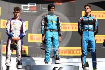 World © Octane Photographic Ltd. GP3 - Race 2. Arjun Maini (1st) – Jenzer Motorsport, Dorian Boccolacci (2nd) – Trident and Allessio Lorando (3rd) – Jenzer Motorsport. Circuit de Barcelona - Catalunya, Spain. Sunday 14th May 2017. Digital Ref:1821LB1D3096