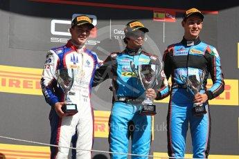 World © Octane Photographic Ltd. GP3 - Race 2. Arjun Maini (1st) – Jenzer Motorsport, Dorian Boccolacci (2nd) – Trident and Allessio Lorando (3rd) – Jenzer Motorsport. Circuit de Barcelona - Catalunya, Spain. Sunday 14th May 2017. Digital Ref:1821LB1D3174