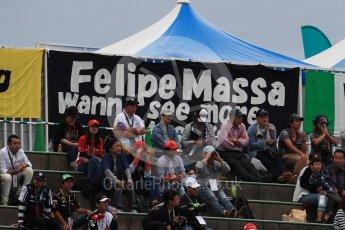 World © Octane Photographic Ltd. Formula 1 - Japanese Grand Prix - Saturday - Qualifying. Felipe Massa fans. Suzuka Circuit, Suzuka, Japan. Saturday 7th October 2017. Digital Ref:1977LB1D9765